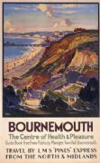 Bournemouth, Dorset. Vintage LMS Travel Poster by Leonard Richmond